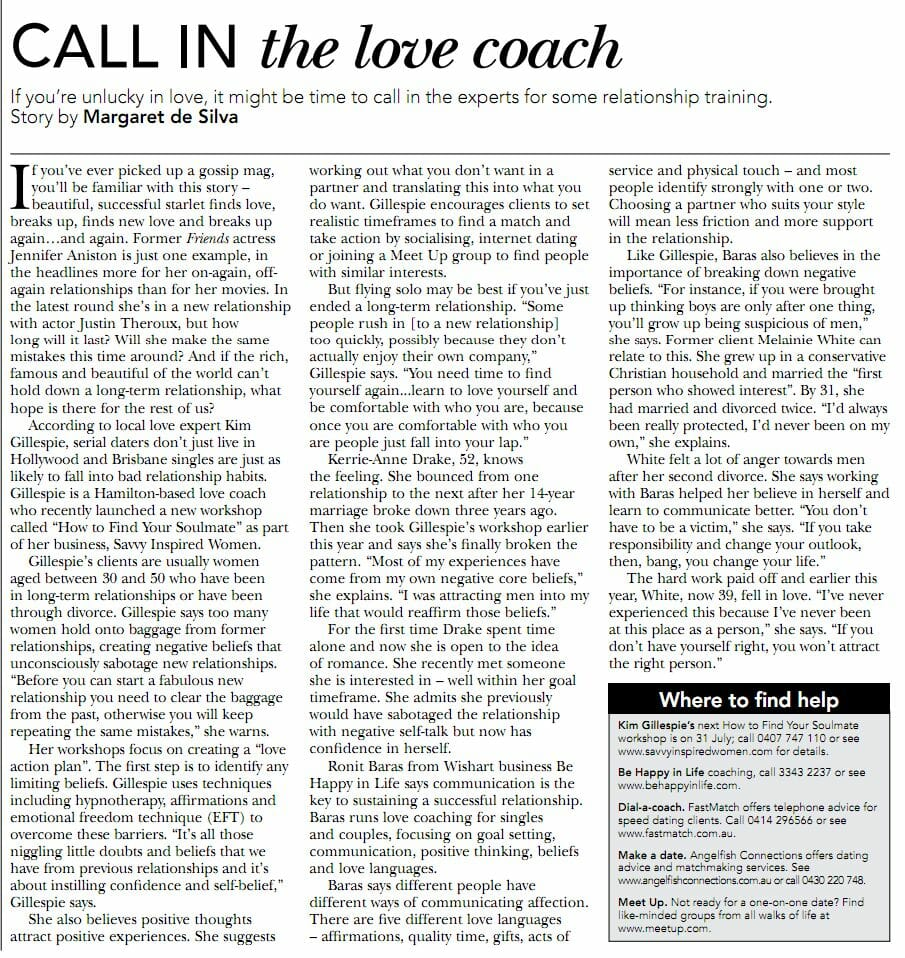Call in the Love Coach bmag article