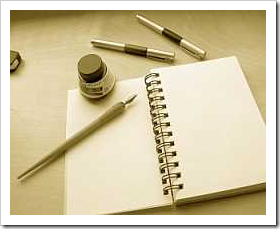 Notebook, quill and ink