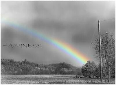 Happiness written over a rainbow scene