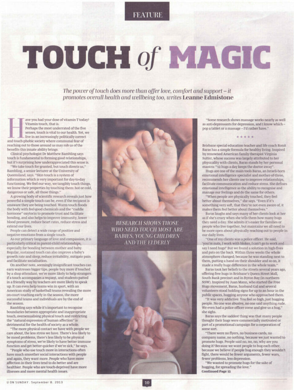 Article on the importance of touch