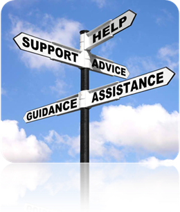 Signs showing help is in every direction