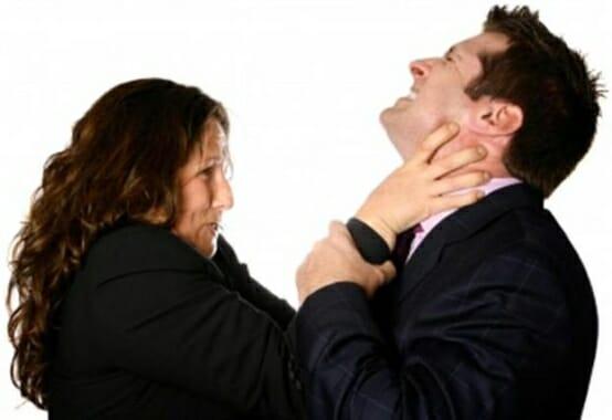 Woman trying to choke man