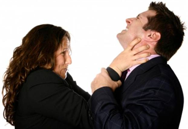 Woman trying to choke man