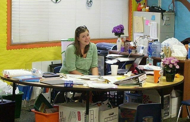 Teacher sitting in a classroom